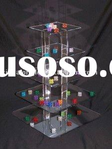4 tier square Acrylic Cupcake Display Stand or Acrylic Cake Stand