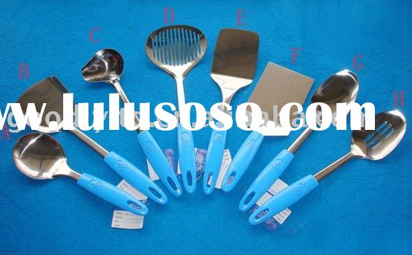 hot sale 8pcs plastic kitchen tools with blue handle