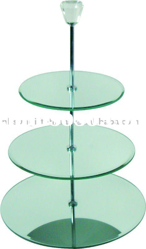 3Tier Mirror Cake Stand with big bling on the top Glass cake stand