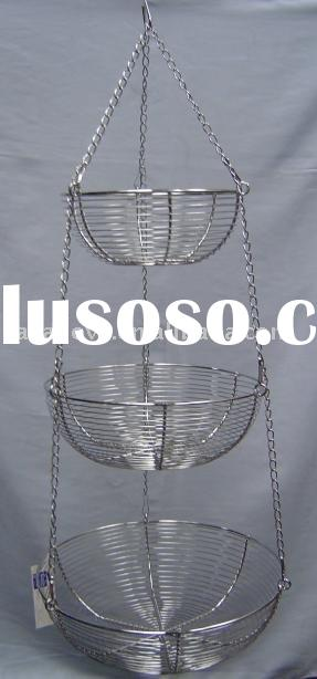 3 Tier Chrome Steel Wire Hanging Baskets