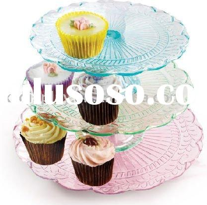 3 Tier Round Patterned Glass Cake Stand