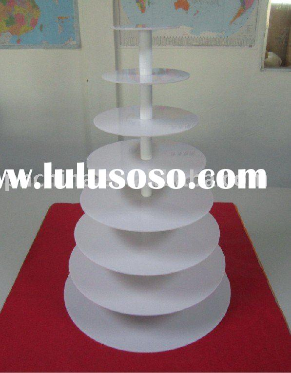 8 Tier Round 5mm Thick White Maypole Acrylic Wedding Party Fairy Cupcake Display Stand