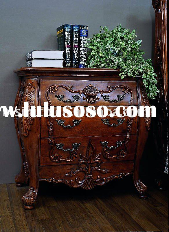 Antique solid wood side table,night stand,American bedroom furniture