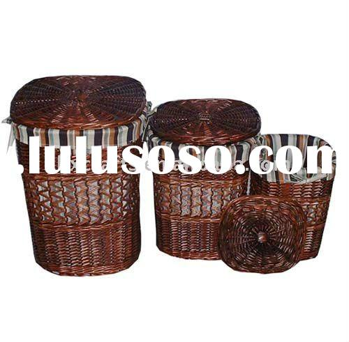 Brown Large Wicker Laundry Hamper with Lid and Liner