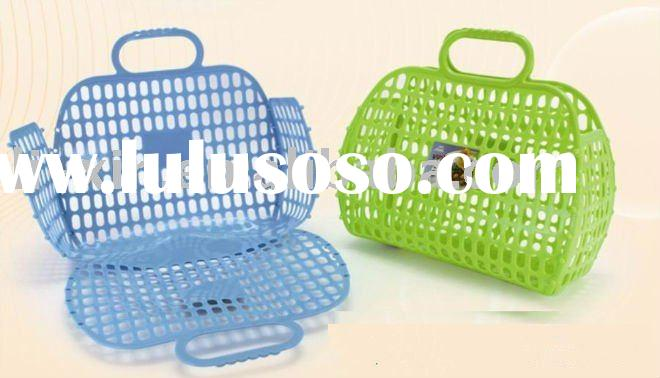 Folding Plastic Basket With Handle