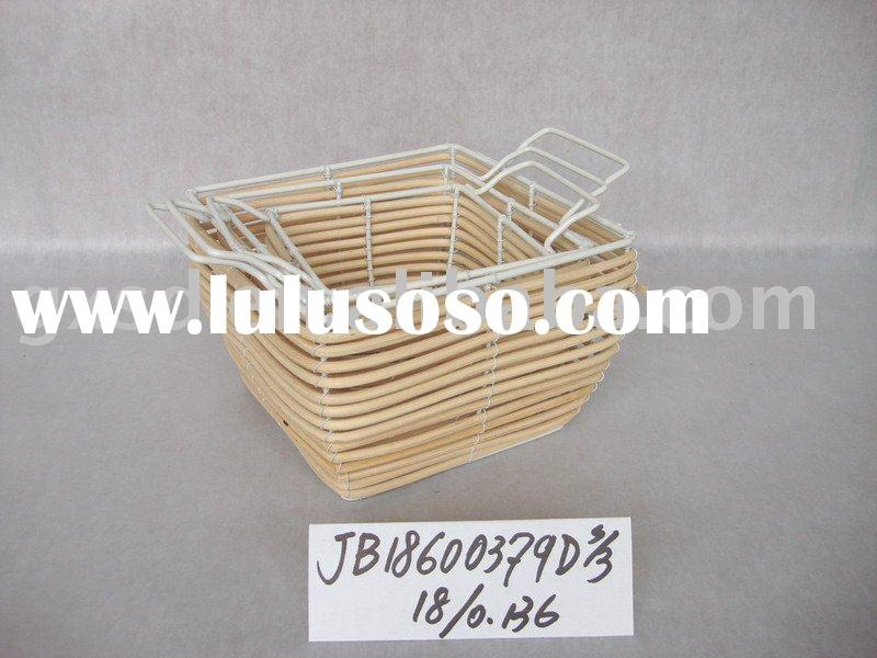 Handmade white rattan woven sundries storage basket set of 3