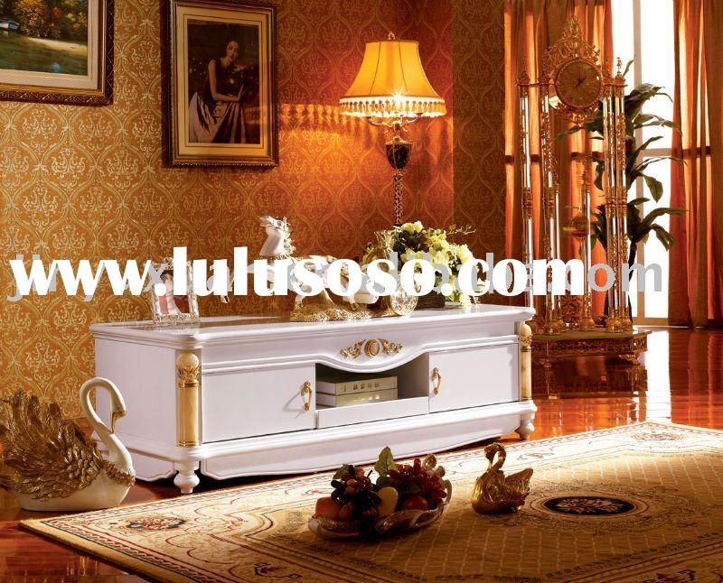 Home Furniture European New Classical White Polish Paint TV Stand 3012#
