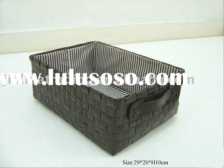 PP weaving basket with PVC handles