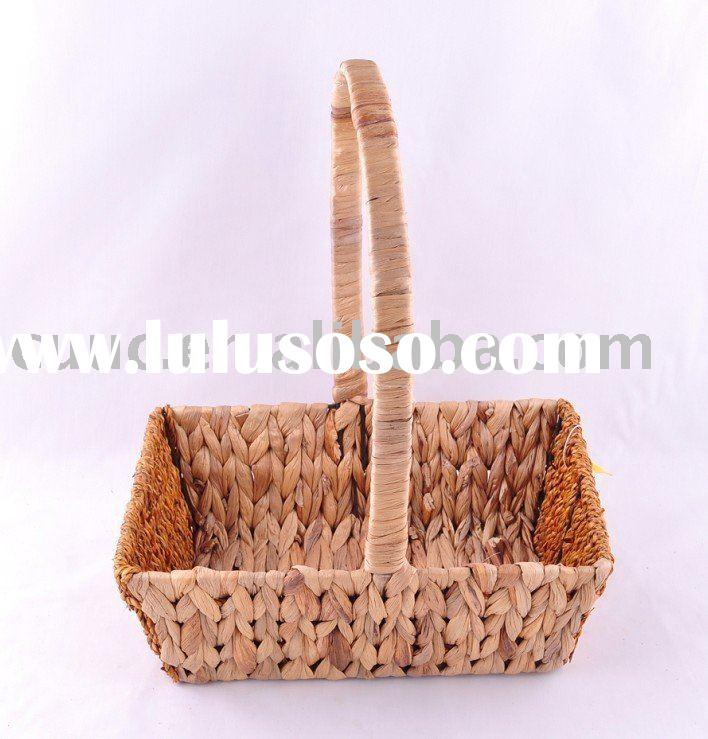 Rectangular flower baskets : Wholesale wicker baskets with long handle for sale price