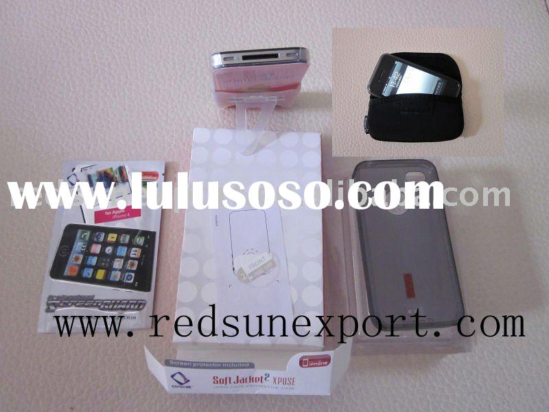 Silicone protecter case +Screen protector+Protective pouch+Movie stand+Logo filem for iphone 4,5 in