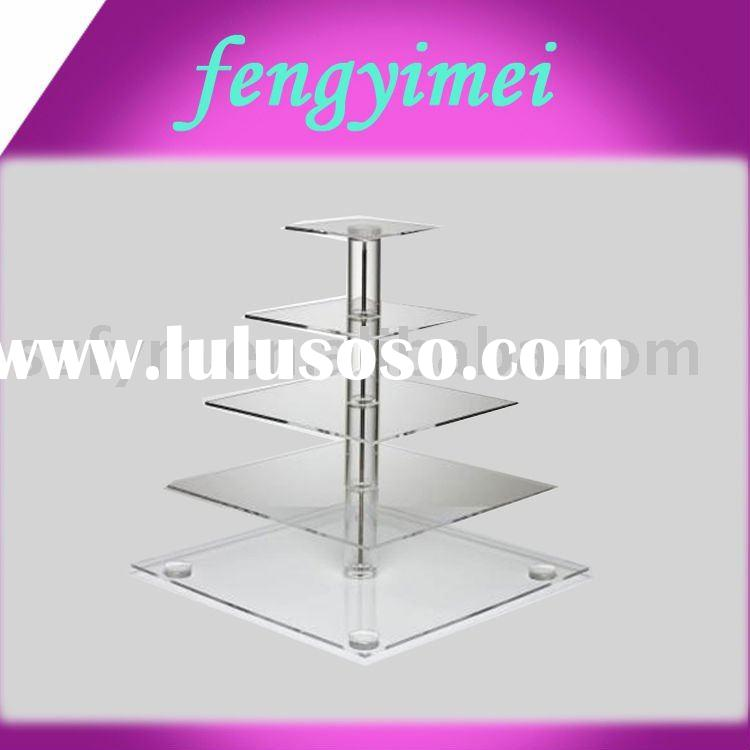 Square 5-tires clear acrylic cupcake stand,perspex cake holder,plexiglass cake stand