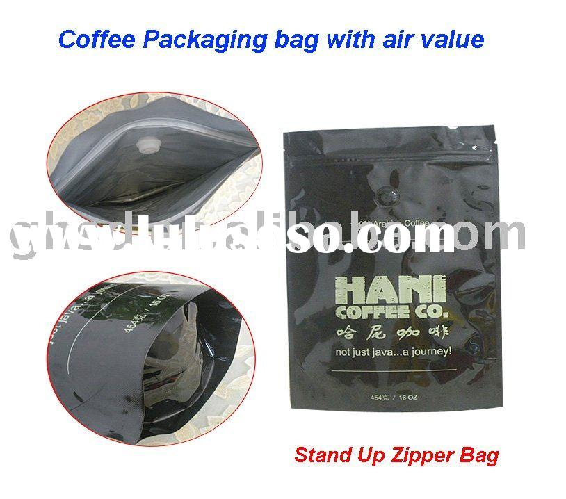 Stand up zipper coffee packaging bag with a value  GH-CF022