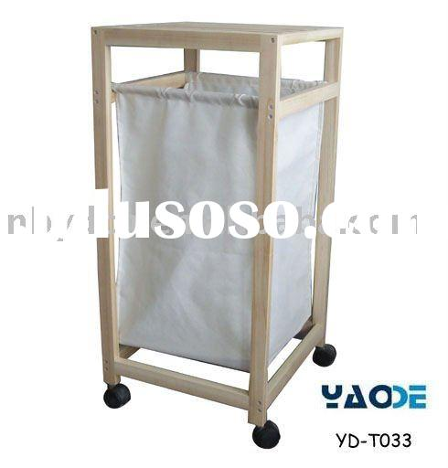 T/C fabric wooden laundry hamper with wheels