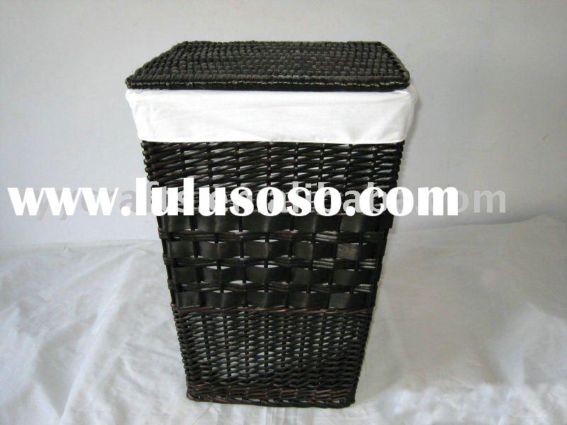 black wicker laundry hamper with liner