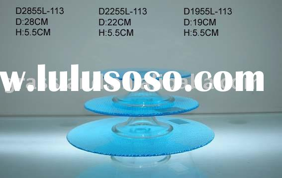 blue glass cake plate sets