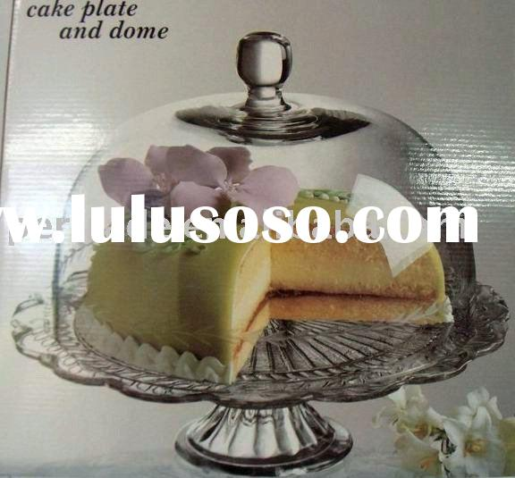 clear glass cake plate and dome