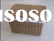 covered willow storage basket with fabric