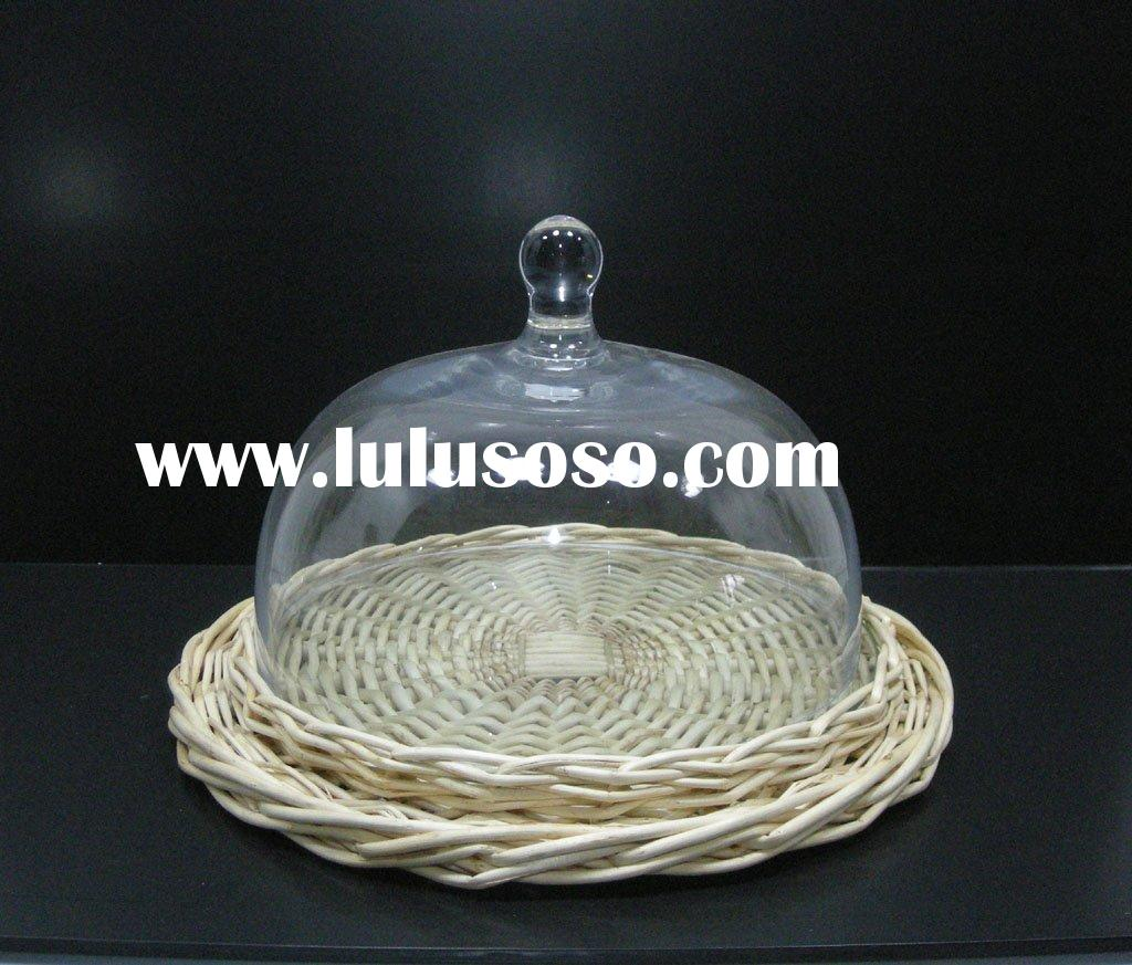 glass cake plate and willow tray
