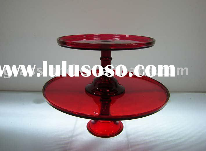 red colored glass cake plates
