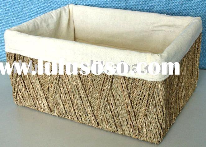 weave natural color seagrass storage basket with liner
