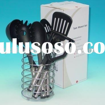JK11125MA 7 Pc Nylon Kitchen Tool W/Wire Basket