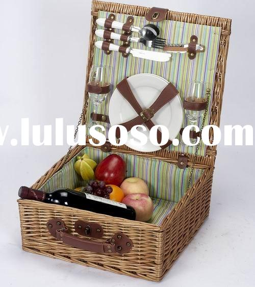 cheap wicker picnic basket with cutlery
