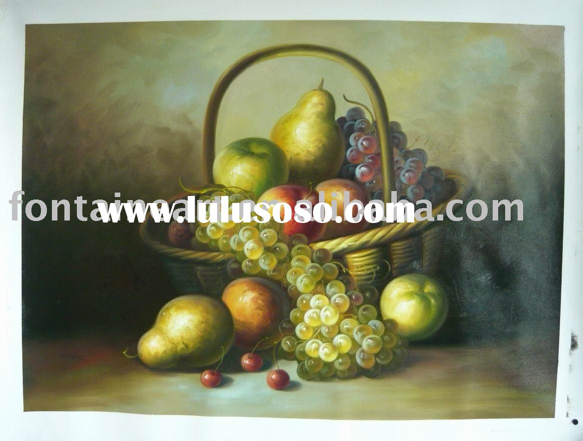 classical still life oil painting on canvas with fruit & basket