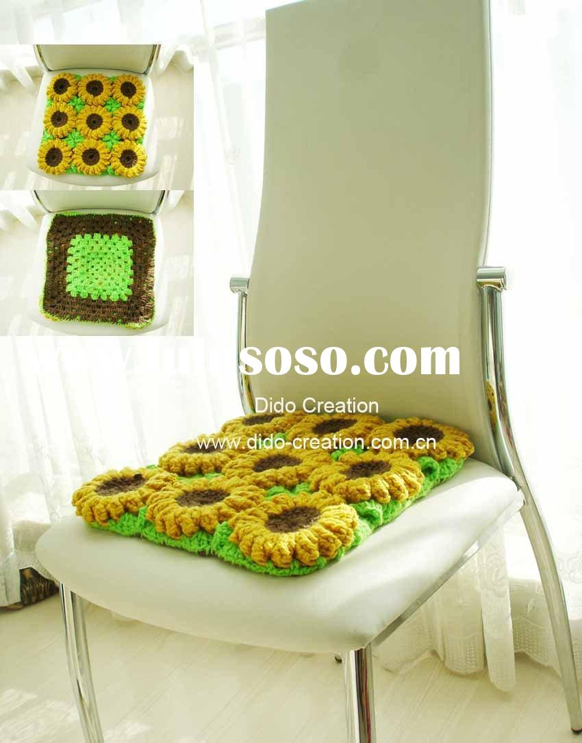 DD09002 Handmade crochet sunflower chair pad cushion