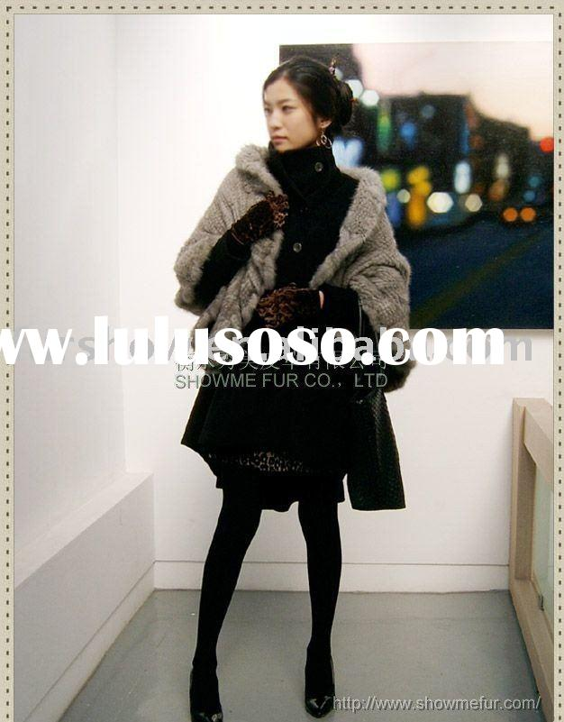 KNITTED MINK FUR SHAWL/FUR STOLE/KK2459