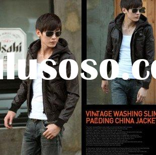 New fashion slim fit stylish PU Leather hooded with Zipper outerwear sweater High collar coat men&am