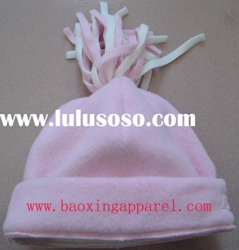 micro fleece winter knitted ski hat with fringes top ball