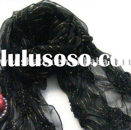 100% silk fashion summer embroidery shawl and scarf