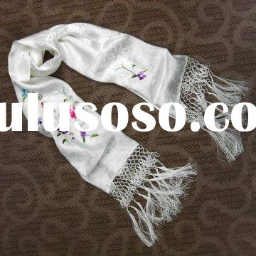 2012 Fashion Silk Scarf and Shawl with Hand Embroidered Patterns