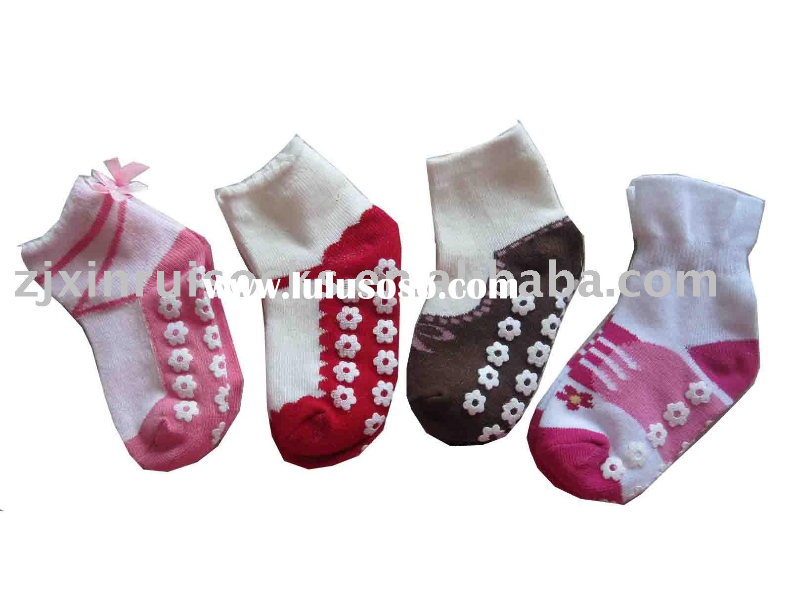Baby cotton knitted socks with anti-slip on sole