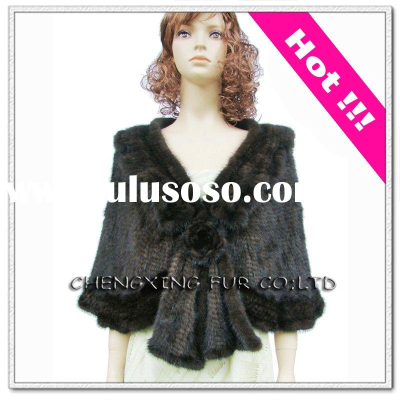 Hand Knitted Mink Fur Shawl