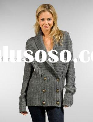 LADIES' CASHMERE/WOOL SHAWL COLLAR CARDIGAN