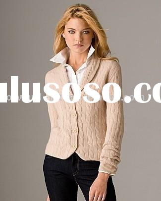 LADIES' WOOL SHAWL COLLAR CARDIGAN