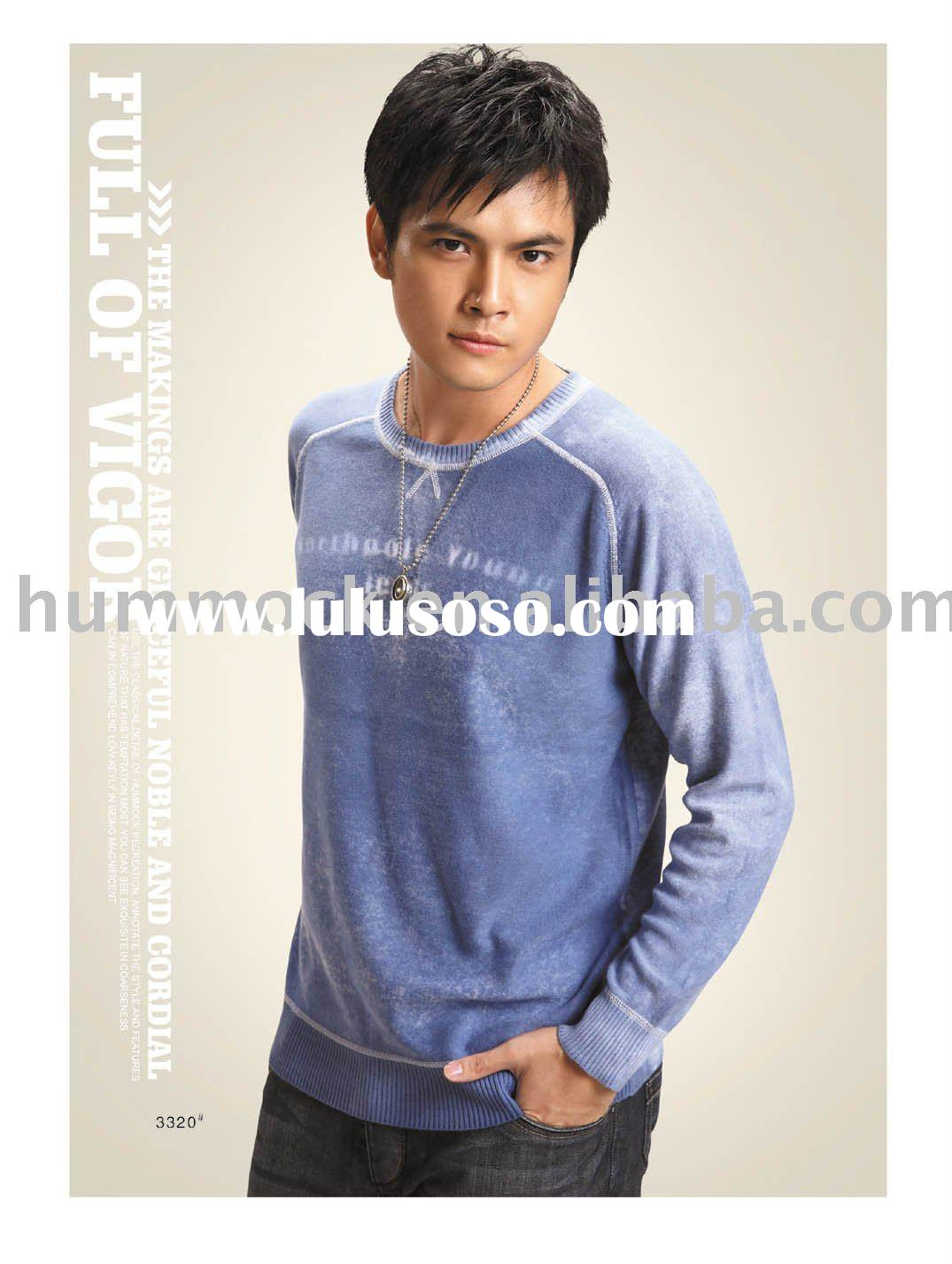 Men's round collar long sleeve knitting sweater
