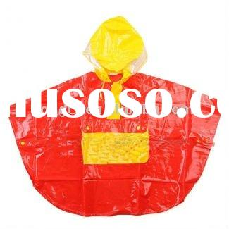 Red selling well kids knit poncho patterns with hoody
