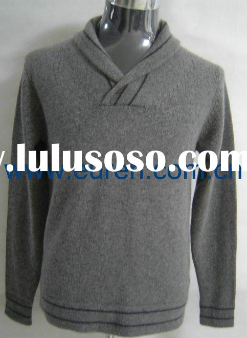 Shawl collar winter thick knitted cashmere pullover sweater for men, model 42