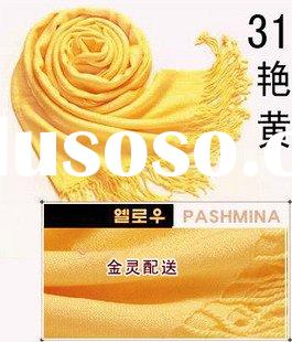 Stock Pashmina Silk Scarf Shawl Wrap Yellow Color