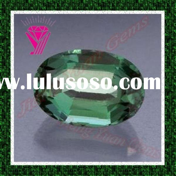 emerald cut oval  corundum gemstone pave beads
