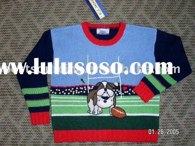 kids/children clothing 7gg hand intarsia knitted dog with football pattern boy's pullover sw