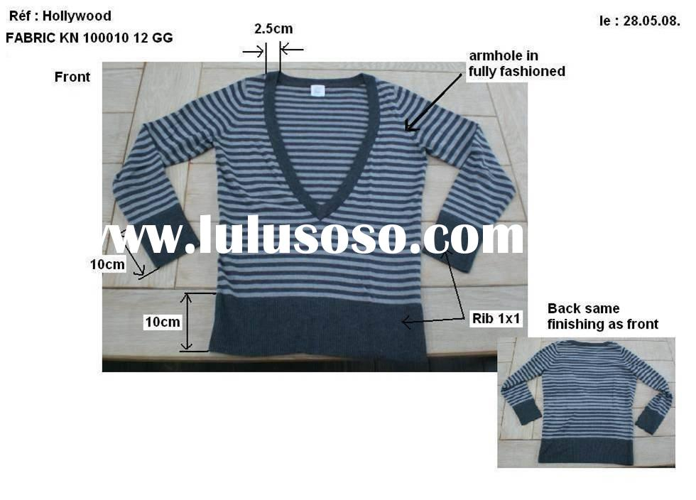ladies long sleeve stripe v neck pullover sweater