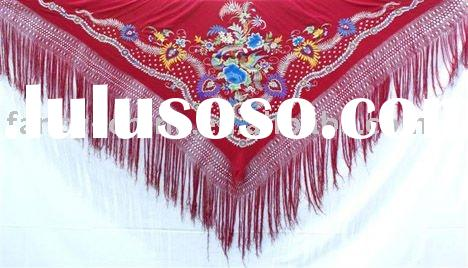 spain shawl scarves with chinese hand embroidery