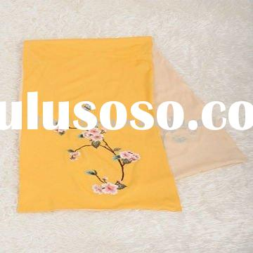 yellow silk scraf with flower designs