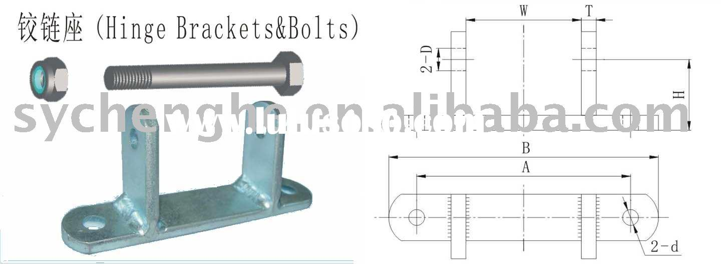 Hinge bracket and bolt, truck door hinge bracket, trailer parts