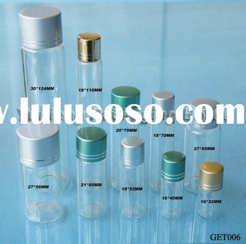 Small Clear Glass Containers/Bottles with Screw Metal Cap