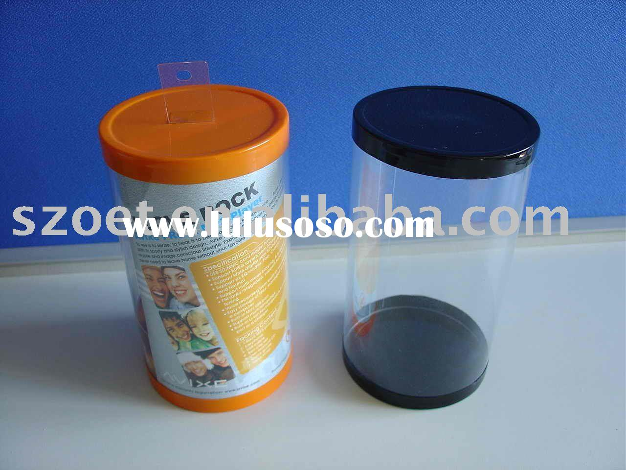 clear transparent tube, clear plastic cylinder, round barrel.