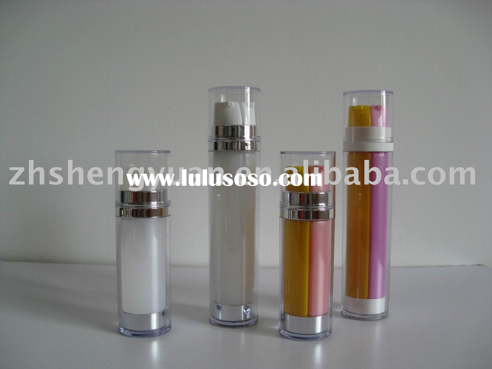 cosmetic packing plastic lotion bottle container double tube system
